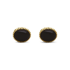 Raised Oculus Onyx Oval Stud Earrings
