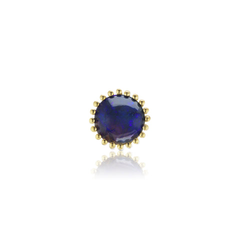 Single Sundown Round Blue Opal Stud