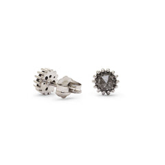 Small Round Rose Cut Grey Diamond Stud Earrings