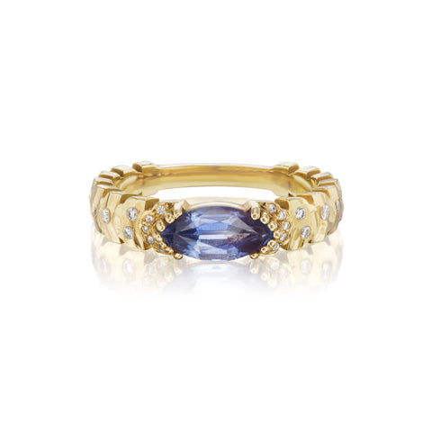 East-West Marquise Agra Ring, Medium Blue Sapphire
