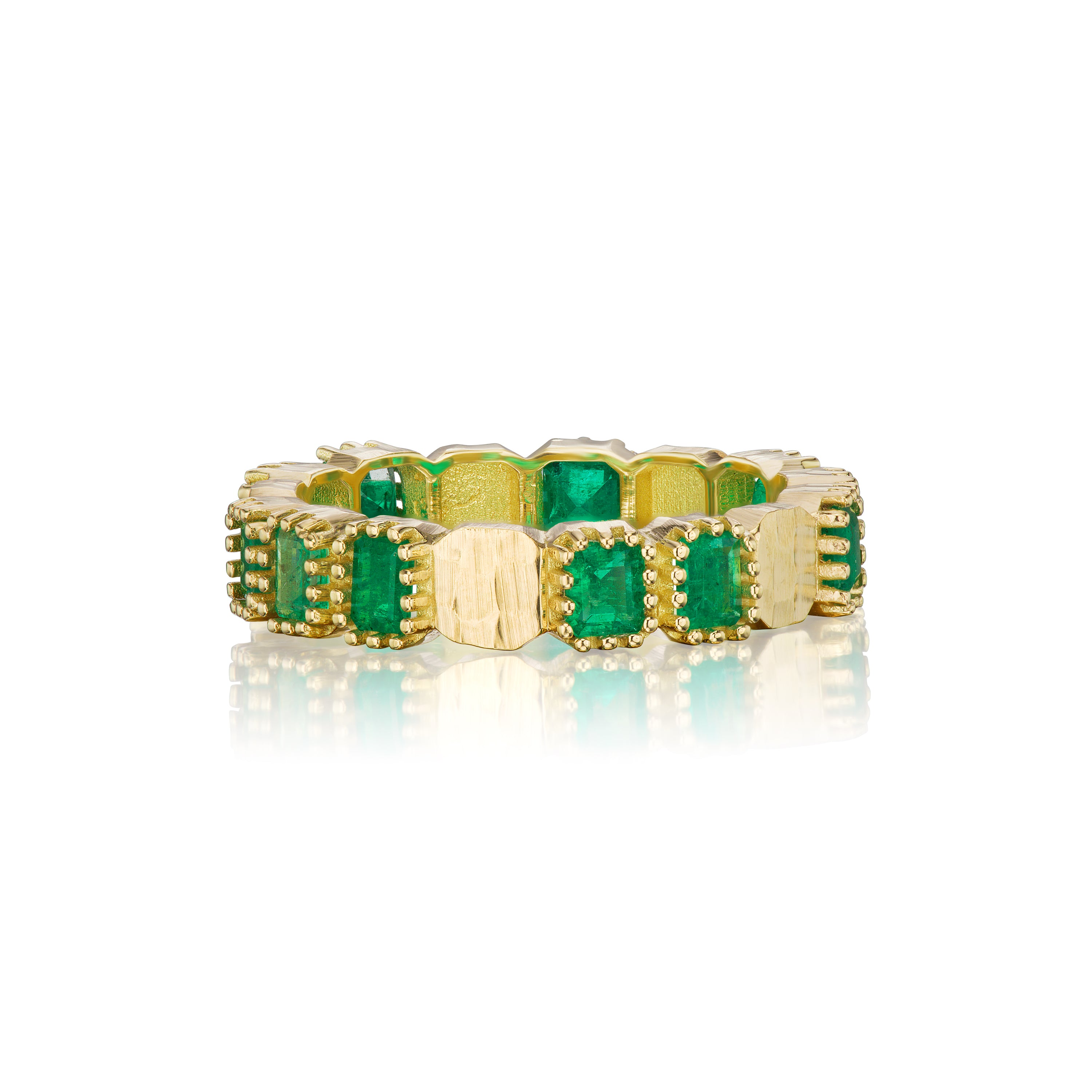 Emerald & Hammered Gold Eternity Band