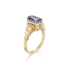 Light Blue Long Hex Sapphire Steps Ring