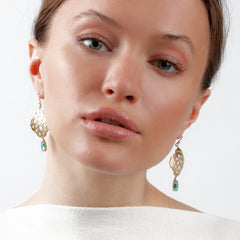 Dana Bronfman x Muzo Emeralds Oculus Agra Earrings with Marquise Emerald Drops