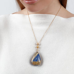 Large Lapis & Rutilated Quartz Doublet Coin Pendant