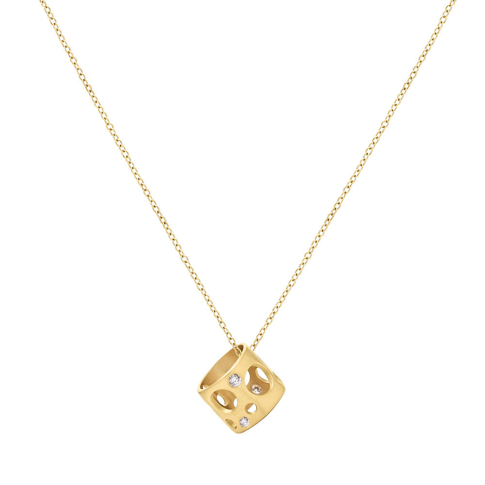 Diamond Tiny Holly Bead Necklace