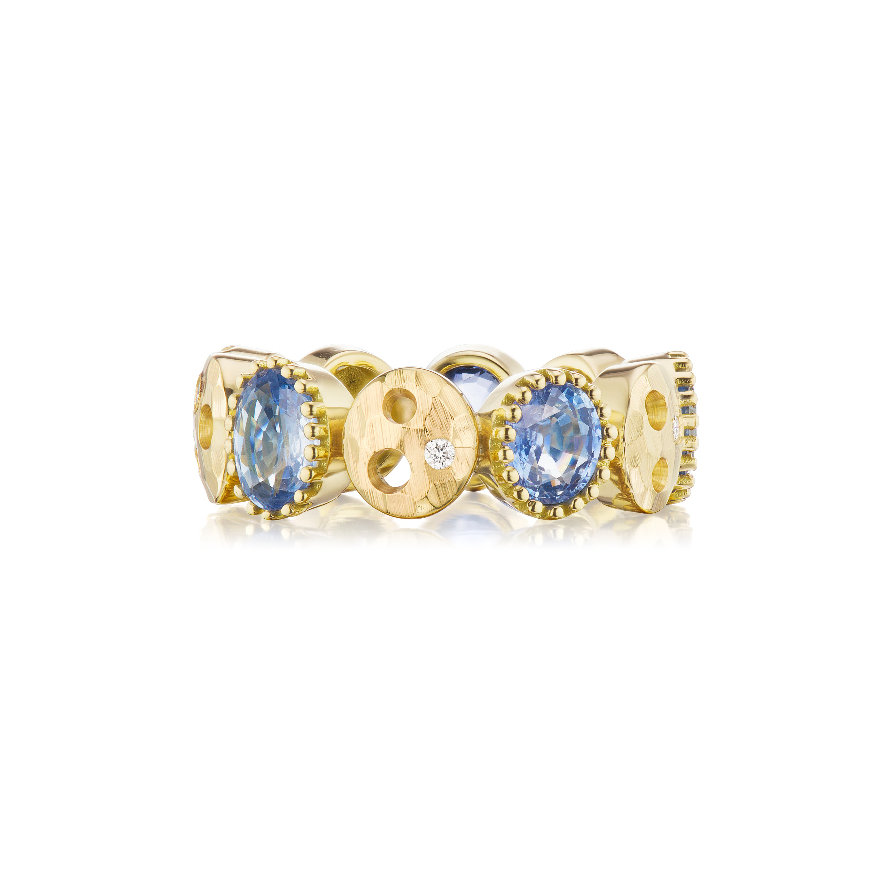 Oval Oculus & Eternity Band with Light Blue Sapphire