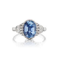 Oval Steps Ring with Light Blue Sapphire