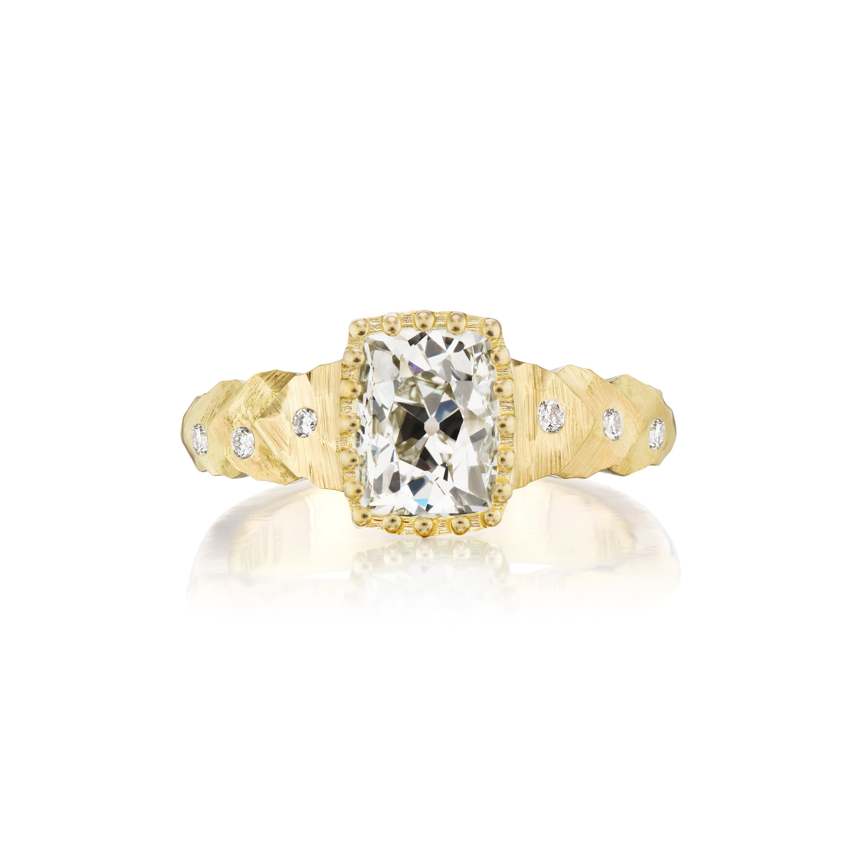 Petal Tiers Ring with Old Mine Elongated Cushion Cut Diamond