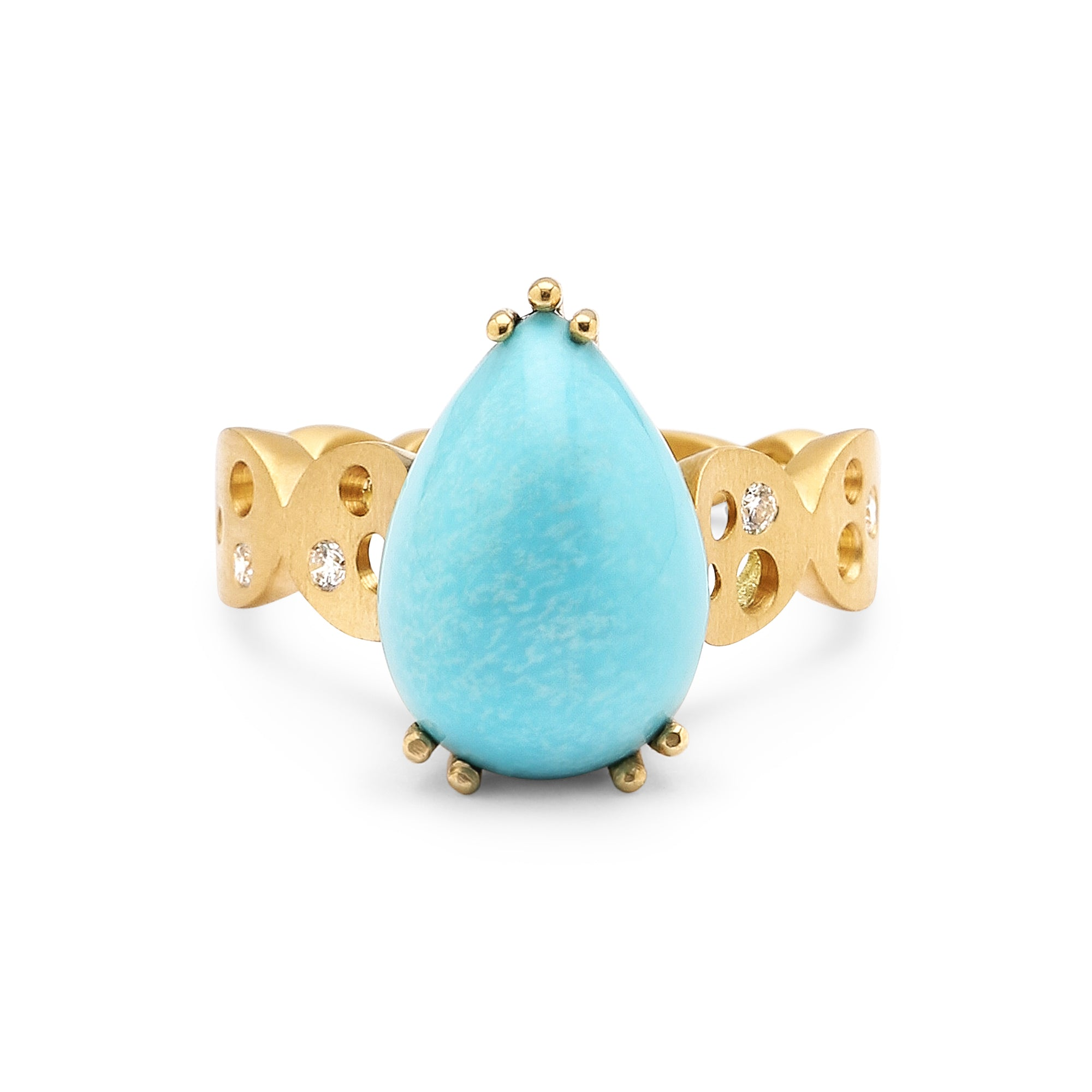 Pear-Shaped Sleeping Beauty Turquoise & Coin Band Ring
