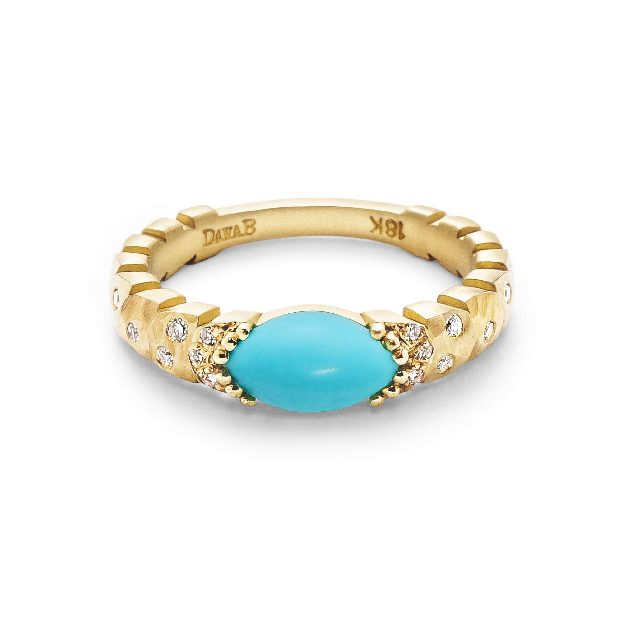 East-West Marquise Agra Ring, Sleeping Beauty Turquoise