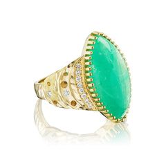 Dana Bronfman X Muzo Emeralds North-South Marquise Crescent Ring