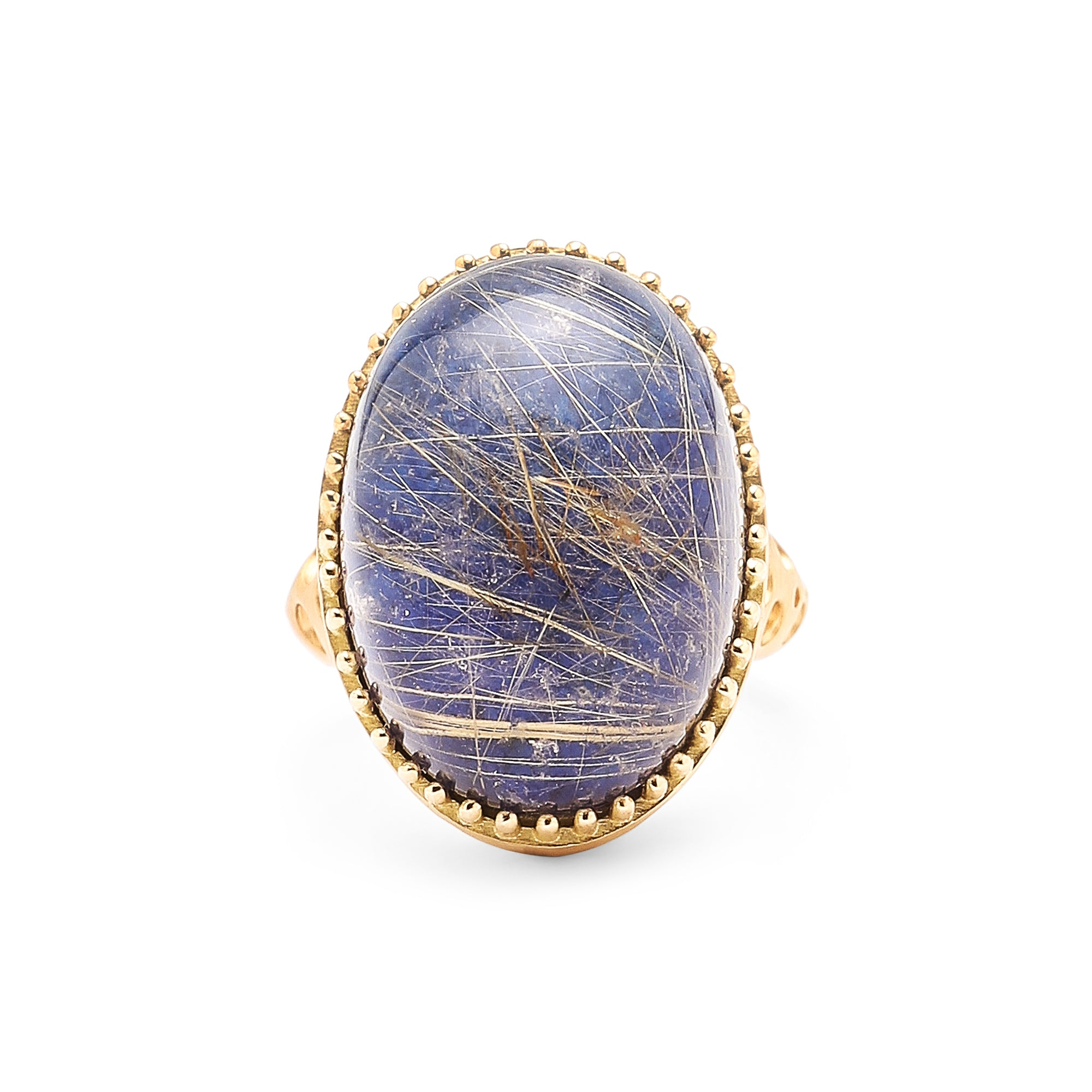 Oval Rutilated Quartz over Lapis Lazuli Doublet Ring