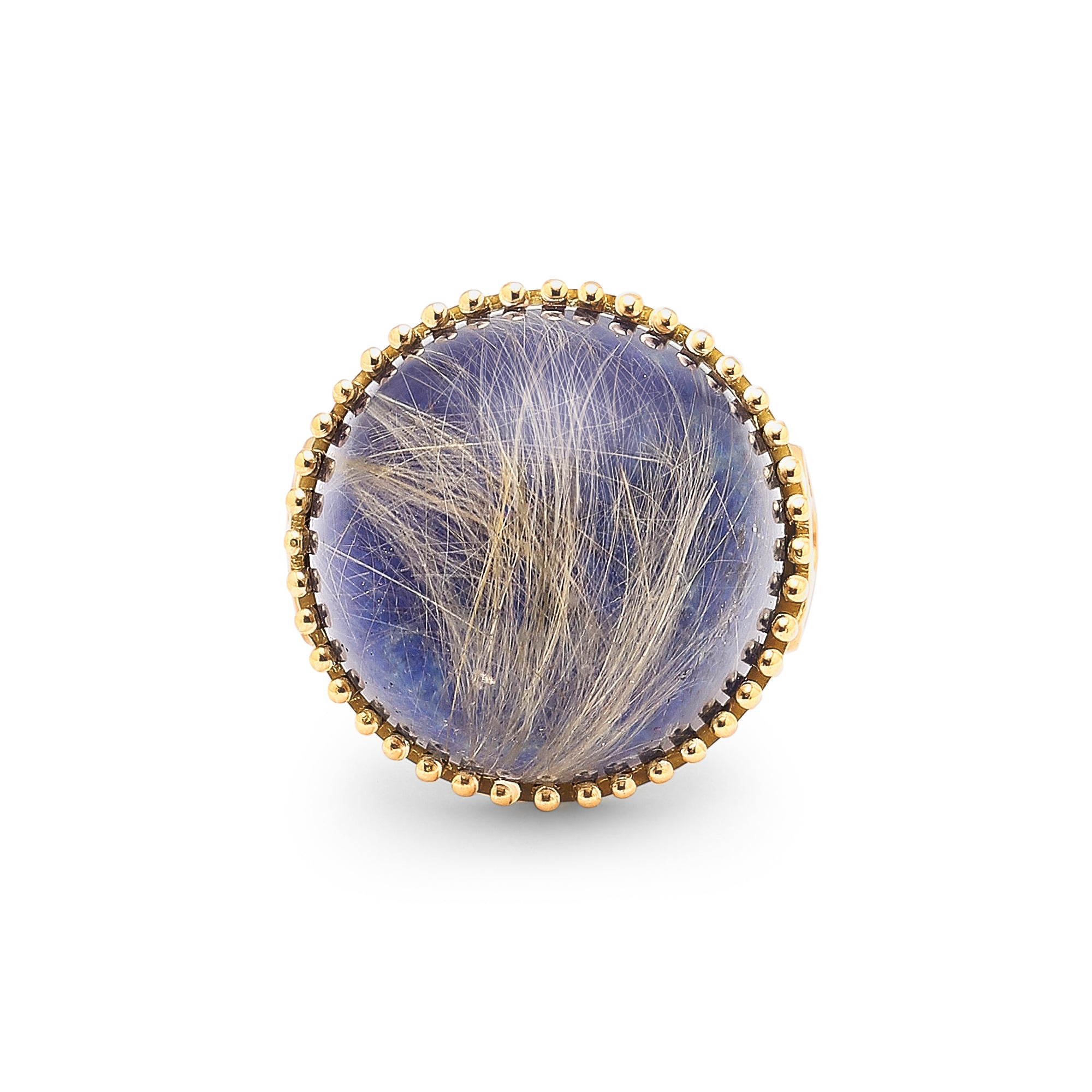 Round Rutilated Quartz over Lapis Lazuli Doublet Coin Band Ring