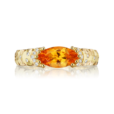 East-West Marquise Agra Ring with Spessartite Garnet