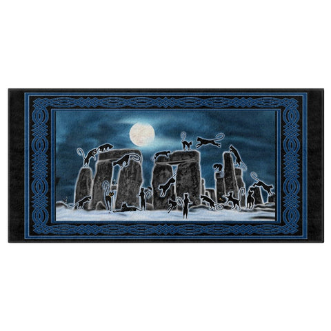Bast Moon Over Stonehenge with Knotwork Bracket Bath Towel with Black border