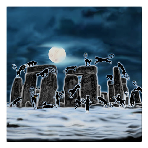 Bast Moon Over Stonehenge Cloth Napkin