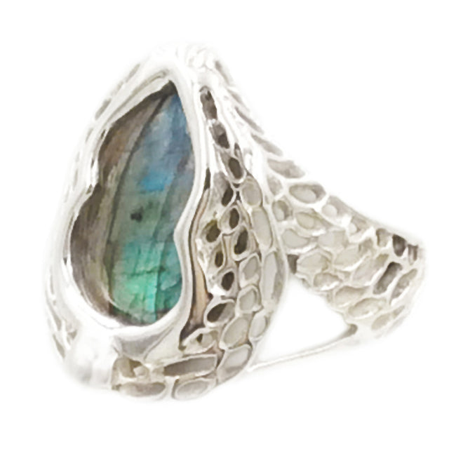 Phoenix Wing 925 Sterling Silver Filigree Blue Labradorite Ring