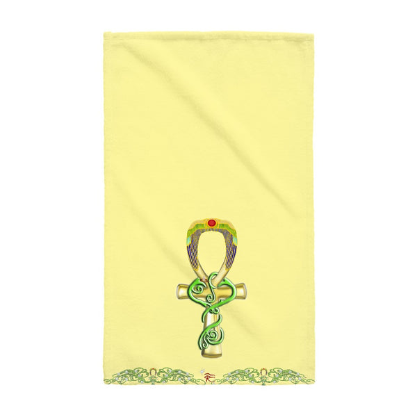 Ankh with Double Jasmine Border Hand Towel (HD)