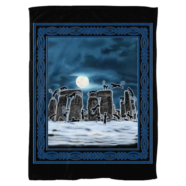 Bast Moon Over Stonehenge with Knotwork Frame Fleece Blanket