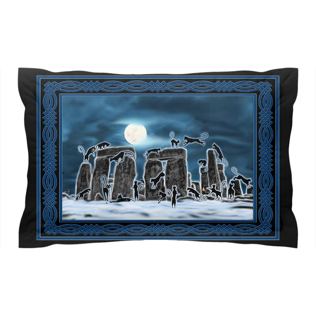 Bast Moon Over Stonehenge with Knotwork Frame Pillow Sham