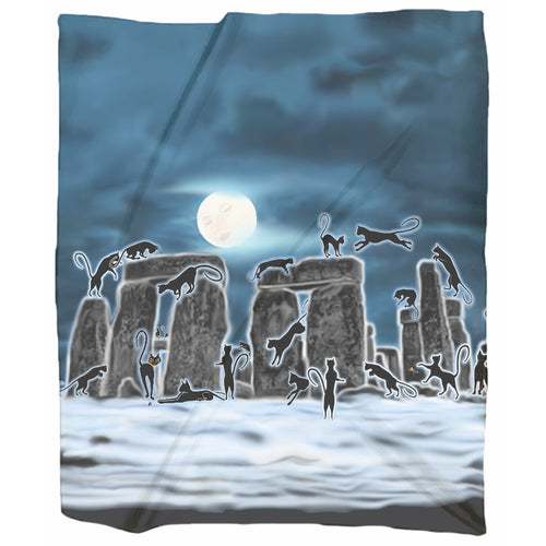 Bast Moon Over Stonehenge Jersey Blanket
