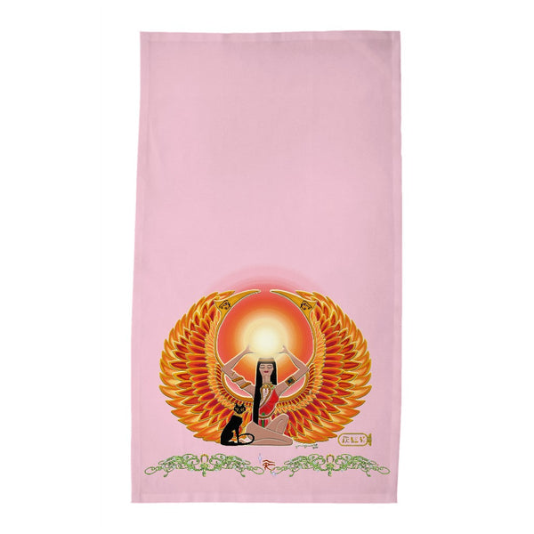 Isis/Auset with Double Jasmine Border Tea Towel (HD)