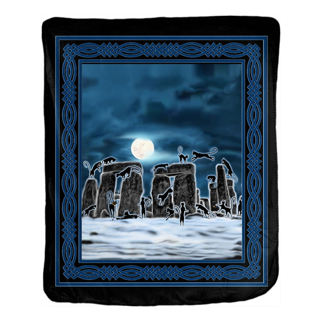 Bast Moon Over Stonehenge with Knotwork Frame Velveteen Blanket