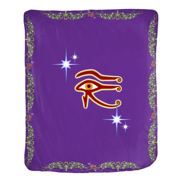 Eye of Isis/Auset with Double Jasmine Border Velveteen Blanket (P)