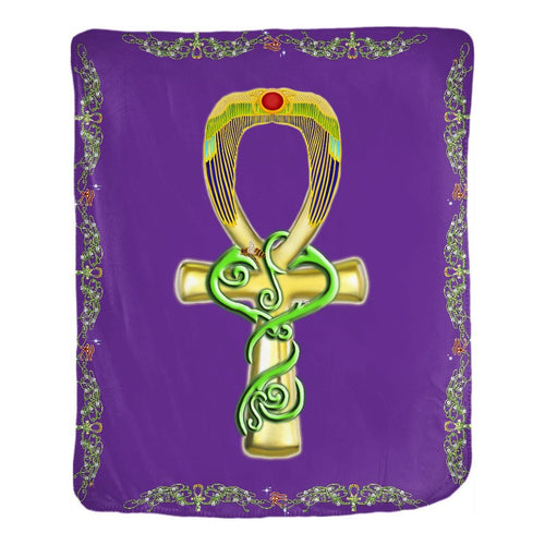 Ankh with Double Jasmine Border Velveteen Blanket (P)
