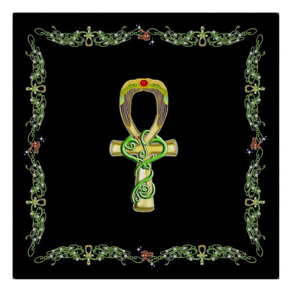 Ankh with Double Jasmine Border Cloth Napkin