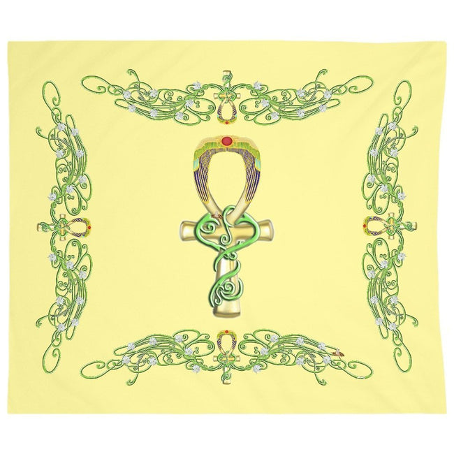 Ankh with Jasmine Border Tapestry (L)