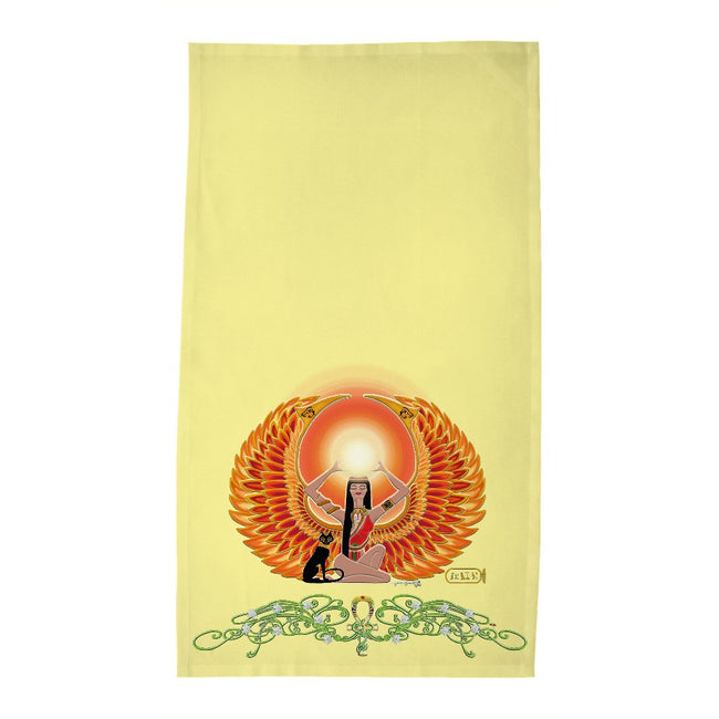 Isis/Auset with Jasmine Border Tea Towel (HD)