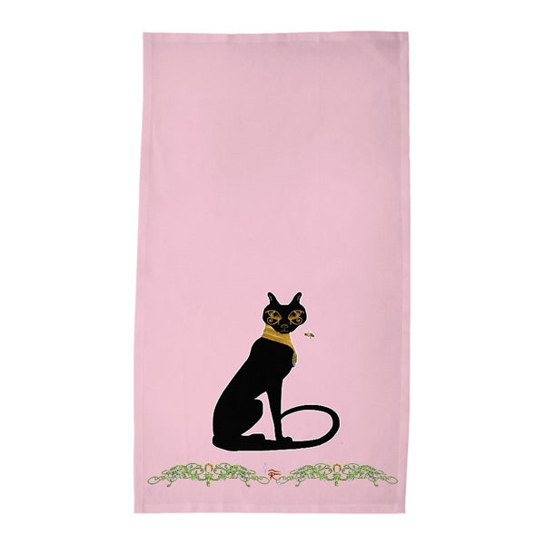 Bast with Double Jasmine Border Tea Towel (HD)