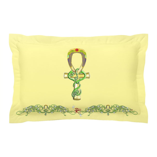Ankh with Double Jasmine Border Pillow Sham