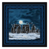 Bast Moon Over Stonehenge with Knotwork Frame Cloth Napkin
