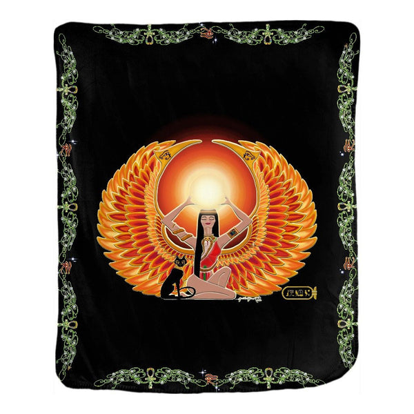 Isis/Auset with Double Jasmine Border Velveteen Blanket (P)