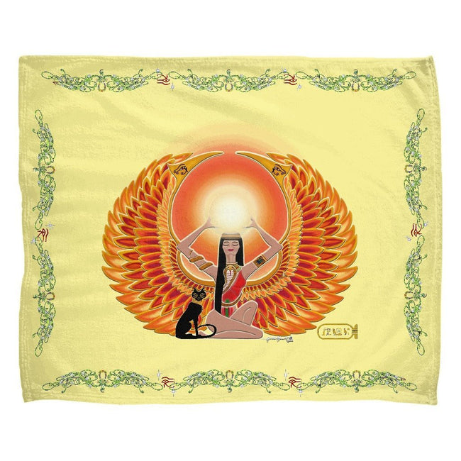 Isis/Auset with Double Jasmine Border Fleece Blanket (L)