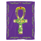 Ankh with Double Jasmine Border Fleece Blanket (P)