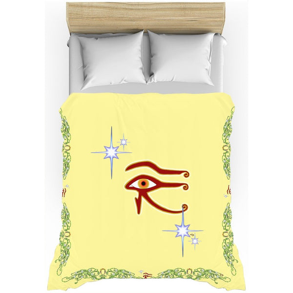 Eye of Isis/Auset with Double Jasmine Border Duvet Cover