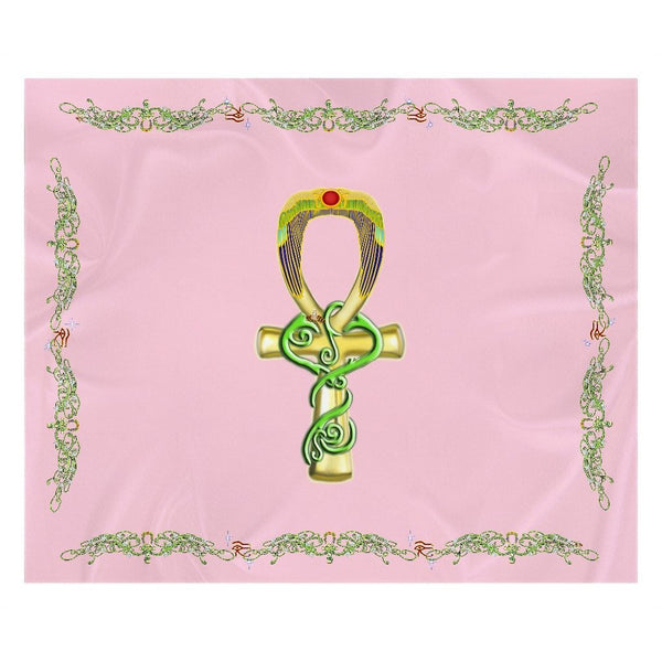 Ankh with Double Jasmine Border Sherpa Blanket (L)
