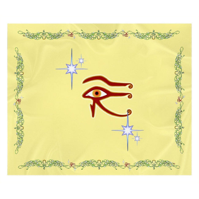 Eye of Isis/Auset with Double Jasmine Border Sherpa Blanket (L)