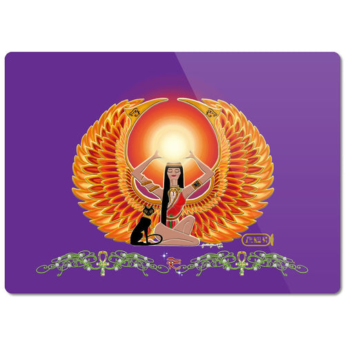 Isis/Auset with Double Jasmine Border Glass Cutting Board
