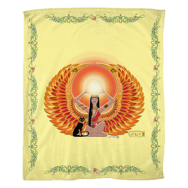 Isis/Auset with Double Jasmine Border Fleece Blanket (P)