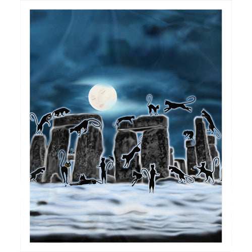 Bast Moon Over Stonehenge Sherpa Blanket