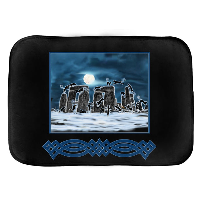 Bast Moon Over Stonehenge with Border Bath Mat