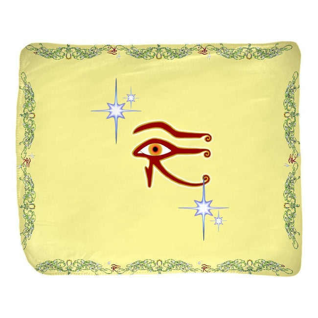 Eye of Isis/Auset with Double Jasmine Border Velveteen Blanket (L)