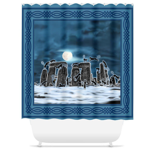 Bast Moon Over Stonehenge with Knotwork Border Shower Curtains