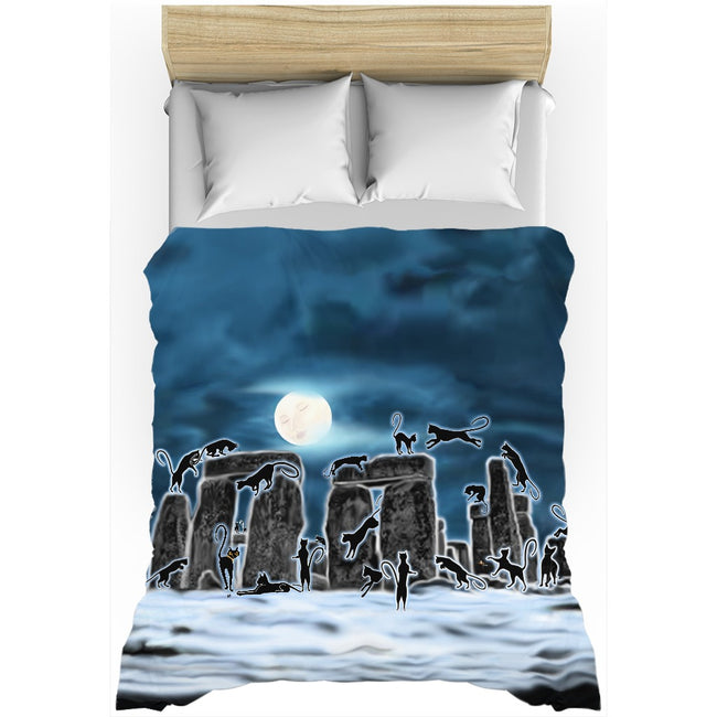 Bast Moon Over Stonehenge Duvet Cover