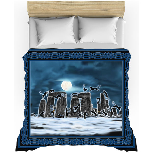 Bast Moon Over Stonehenge with Knotwork Frame Duvet Cover