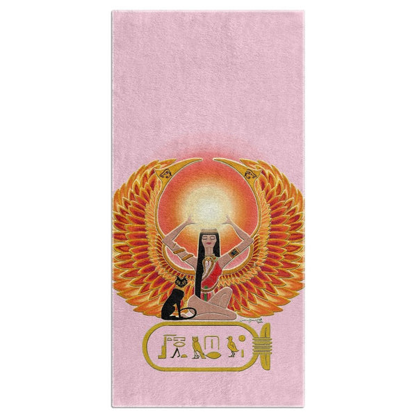 Isis/Auset with Cartouche Beach Towel